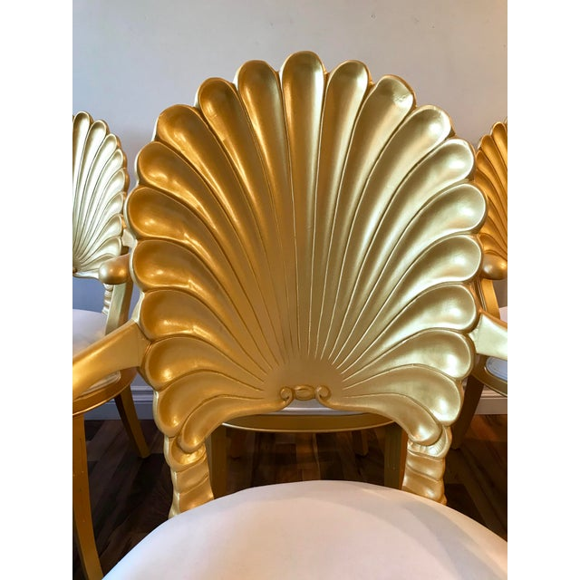 Mid Century Hollywood Regency Venetian Grotto Shell Gold Carved Arm Chairs- 6 Available For Sale - Image 9 of 11