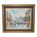 Image of Parisian Street Scene Oil Painting For Sale