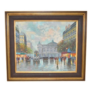 Parisian Street Scene Oil Painting For Sale
