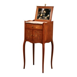 19th Century French Marquetry Walnut and Pull Up Mirror Nightstand With Marble For Sale