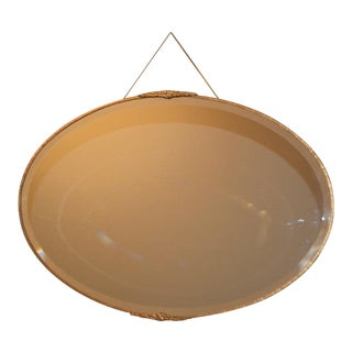 Antique Oval Beveled Edge Wall Mirror W/ Gold Metal Frame For Sale