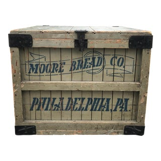 Antique Moore Bread Co. Philadelphia Pa Shipping Crate For Sale
