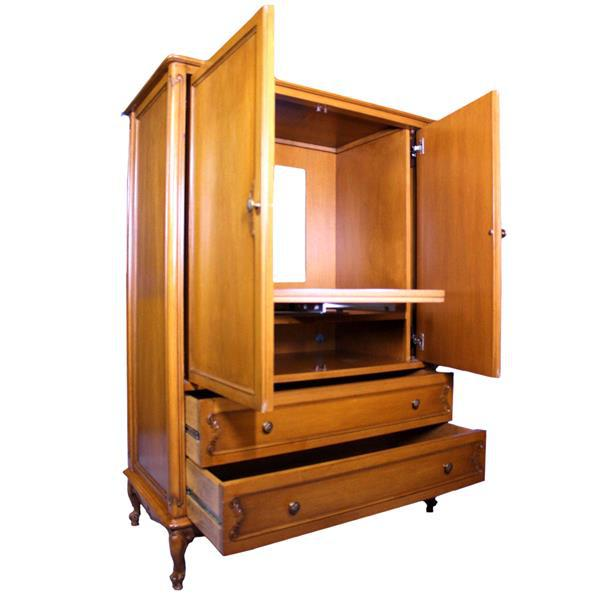 French Provincial Country Walnut Armoire For Sale In New York - Image 6 of 8