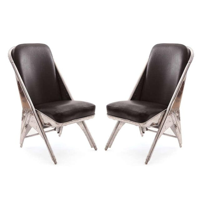 Black 1940s Mid-Century Modern Riveted Aluminum and Leather Cessna Chairs - a Pair For Sale - Image 8 of 9