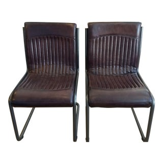Distressed Leather Custom Side Dining Chairs - A Pair