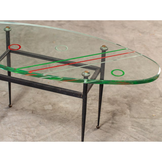Brass Vintage 1960s Italian Oval Coffee Table with Painted Glass Top For Sale - Image 7 of 13