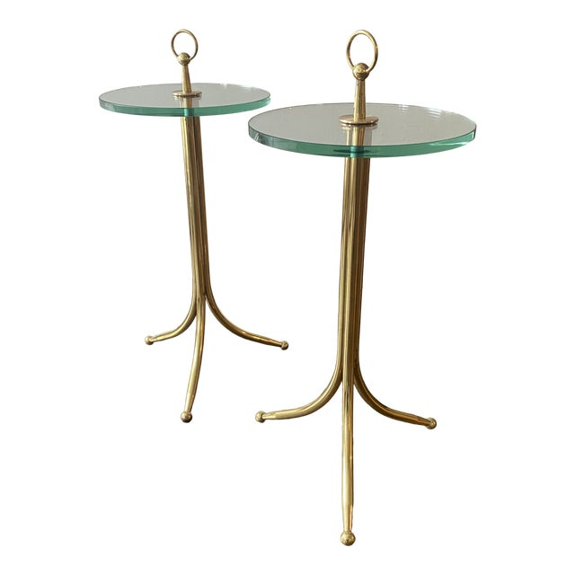 1950s Cesare Lacca Brass and Glass Drinks Tables - a Pair For Sale