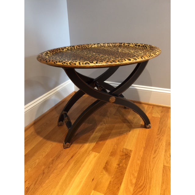 1980s Contemporary Sarreid Animal Print Tray Table For Sale - Image 10 of 12