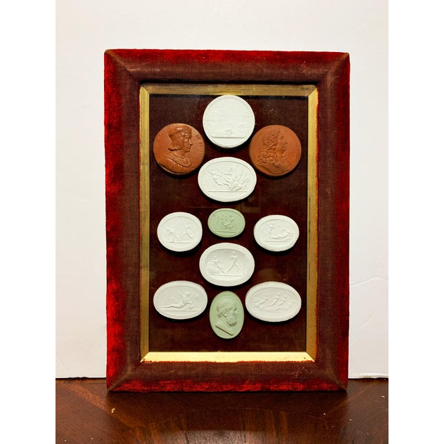 Early 19th Century Arrangement of Grand Tour Plaster Cameos in Velvet Frame For Sale - Image 9 of 9