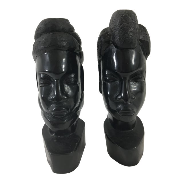 Carved Gabonese Ebonized Wood Figures - a Pair For Sale