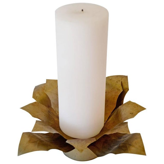 Contemporary Gilt Metal Candleholder For Sale - Image 4 of 4