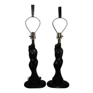 Vintage Sasha Heifetz Black Figural Lovers Cerused Oak Lamps - Pair For Sale