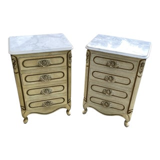 Vintage French Provincial Nightstands With Marble Tops and Floral Handles - a Pair For Sale