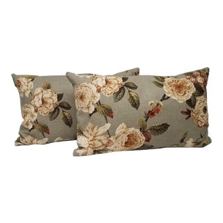 Floral Lumbar Pillows - A Pair For Sale