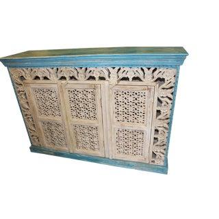 Vintage Sideboard Latticed Old White Blue Carved Floral Doors For Sale