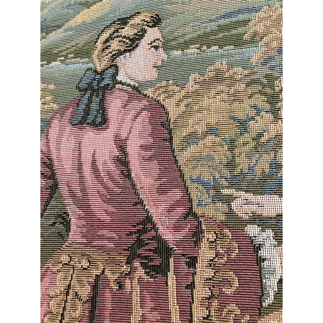 """Late 20th Century 20th Century Italian Capodimonte Style Large 35"""" Framed Wall Mount Tapestry For Sale - Image 5 of 11"""