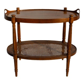 Heritage Vintage French Louis XVI Style Vintage 2 Tier Burl Walnut With Caning Tea/Bar Table For Sale
