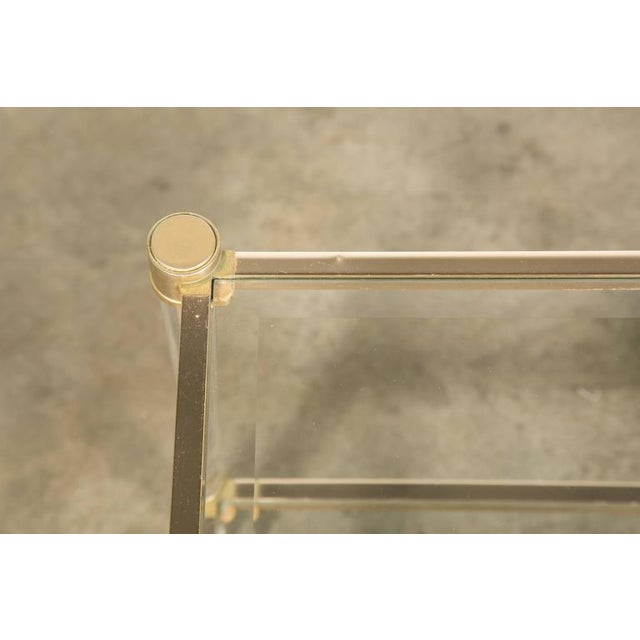 French Rectangular Lucite and Brass Two Tier Side Table For Sale - Image 10 of 12