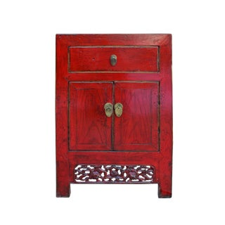 Chinese Oriental Distressed Foo Dog Red Side End Table Nightstand