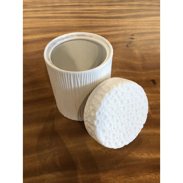 Moonscape Jar White Matte Candle Holder For Sale - Image 4 of 7