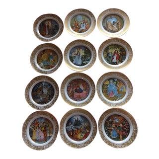 1960s Vintage Franklin Mint Grimm's Fairy Tales Porcelain Plates - Set of 12 For Sale