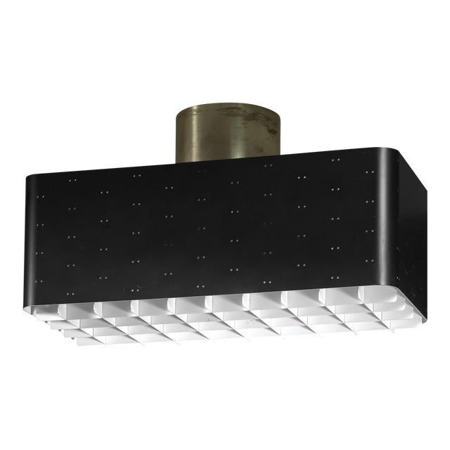 Paavo Tynell Rectangular 9068 Ceiling Lamp in Black and White, Finland, 1950s For Sale