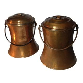 Vintage Copper Milk Cans/Cream Pails - a Pair For Sale