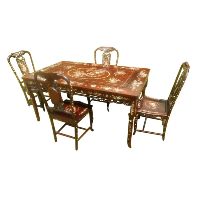 Mother of Pearl Inlay Asian Dining Set - Image 1 of 11