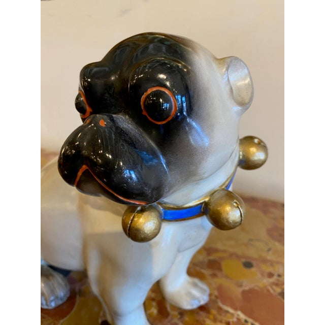 19th Century Figurative Standing German Pug With Bell Collar For Sale - Image 5 of 9