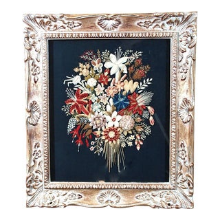 English Woolwork Picture of a Bouquet of Flowers, Circa.1875.