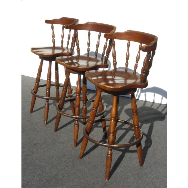 french country wood swivel bar stools set of 3 chairish. Black Bedroom Furniture Sets. Home Design Ideas