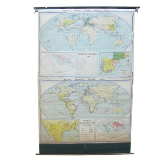 World Exploration School Roll Up Map, C. 1940 For Sale