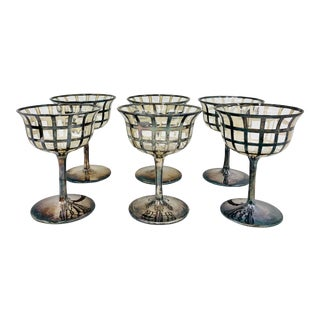 Antique Sterling Silver Cocktail Coupes - Set of 6 For Sale
