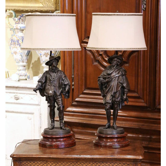19th Century French Spelter Renaissance Figures Made Into Table Lamps - a Pair For Sale - Image 13 of 13