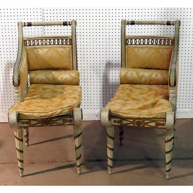 Pair of petite Regency style distressed painted recamiers with removable cushions, and caned seats.