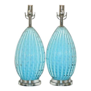 Blue Barbini Murano Lamps w/Bubbles For Sale