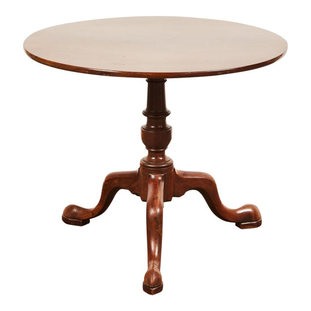 19th Century Queen Anne English Mahogany Pedestal Table For Sale