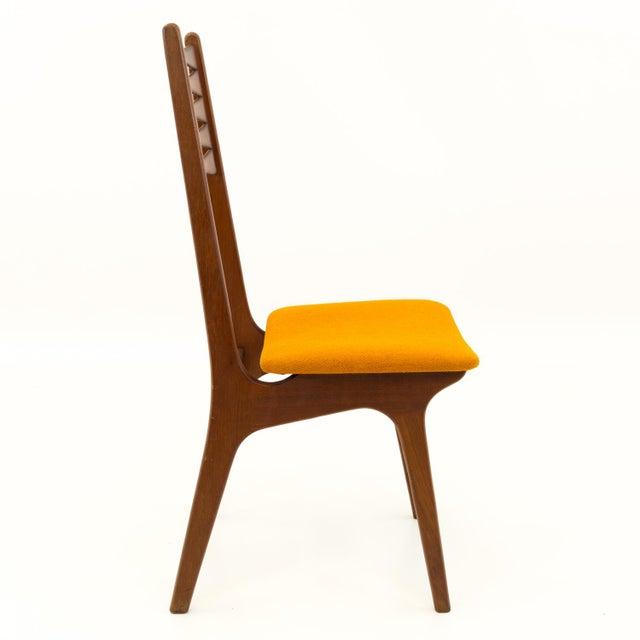Orange Vintage Mid Century Teak Bow Tie Ladderback Dining Chairs- Set of 6 For Sale - Image 8 of 12
