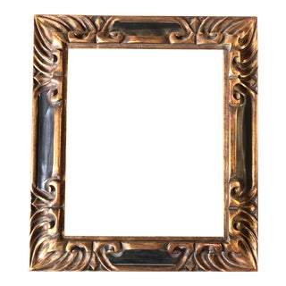 Vintage Carved Wood Black & Gold Picasso Style Picture Frame 10 X 12 For Sale