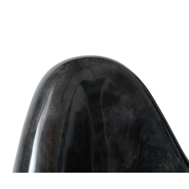 """Contemporary """"Parchment Egg Chair,"""" Lacquered Goatskin, Charcoal Finish For Sale - Image 3 of 5"""
