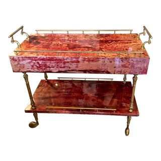 Aldo Tura Bar Cart in Red Lacquer with Two Drawers