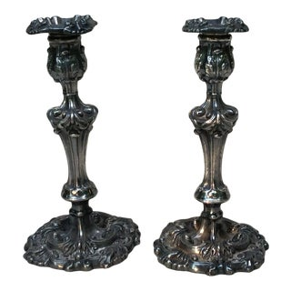 1850s American Baroque Revival Style Candlesticks - a Pair For Sale