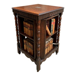 Antique English Carved Oak Revolving Rolling Bookcase Bookshelf Arts Crafts For Sale