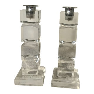 Signed Hivo Van Teal Stacked Lucite Candlesticks - A Pair For Sale