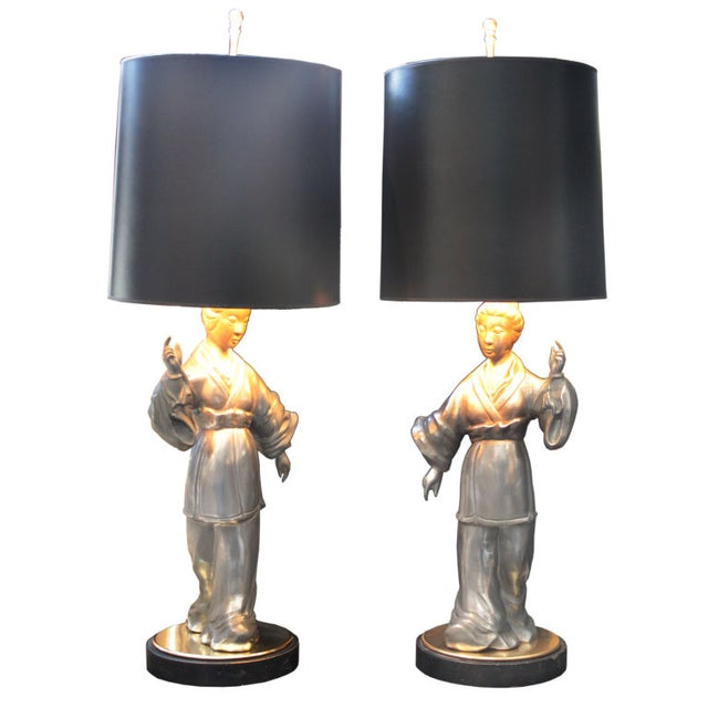 Asian Figure Zinc Table Lamps - A Pair For Sale