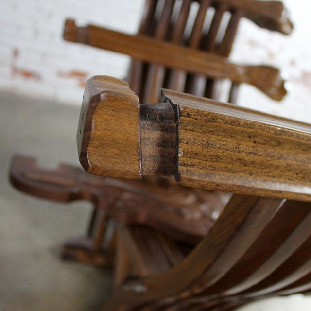 Walnut Savonarola Chairs with Carved Lion Head Arms - A Pair For Sale - Image 11 of 11