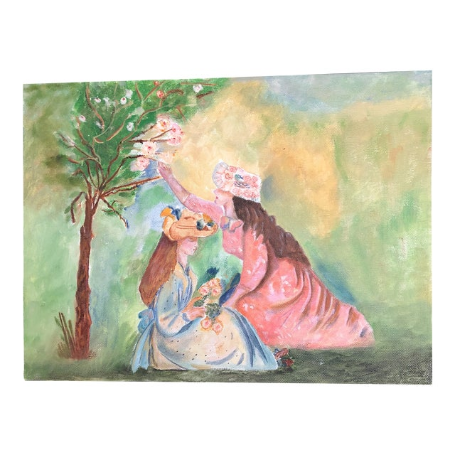 Lisa Burris Acrylic Painting of Two Young Ladies in a Meadow For Sale