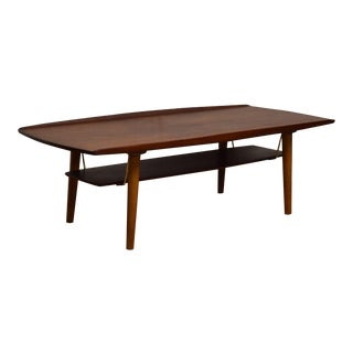 Trioh Teak & Brass Coffee Table For Sale