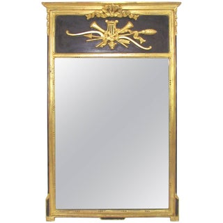 Italian Neoclassical Style Giltwood and Black Wall Mirror, Circa 1970s For Sale