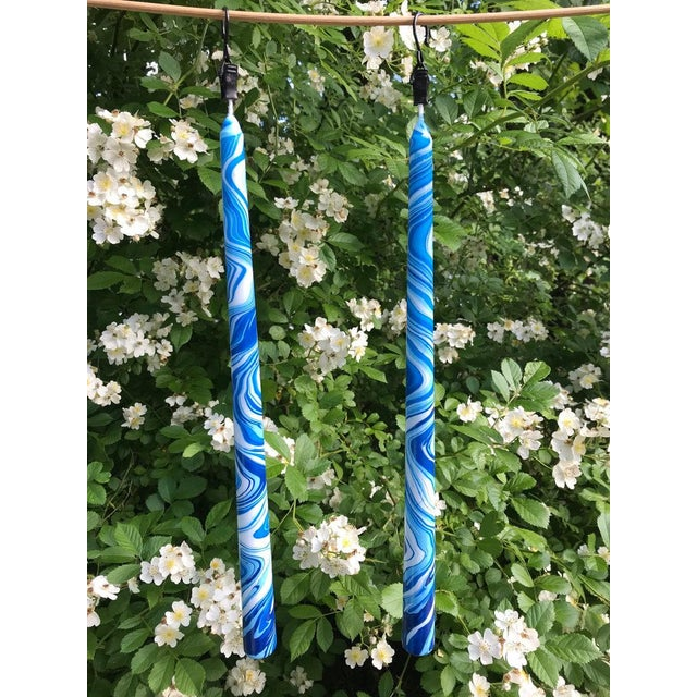 """Sky Blues 10"""" Marbleized Taper Candles, Set of 4 For Sale - Image 4 of 5"""